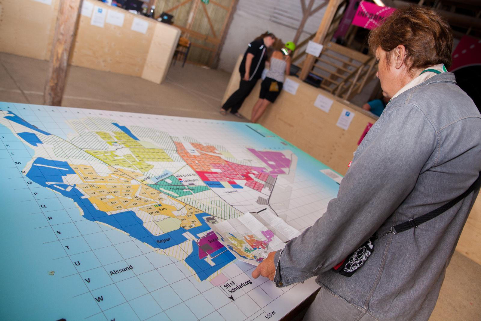 Participants and visitors can use the big map to find their way around the jamboree.